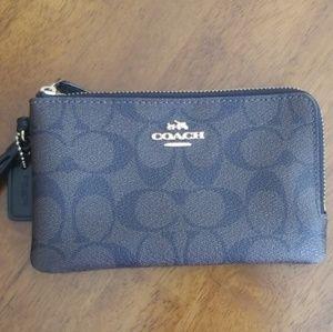 COACH Signature Canvas Double Zip Wristlet/Wallet